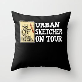 Urban Sketcher Sketching Artists Drawing Painting Throw Pillow