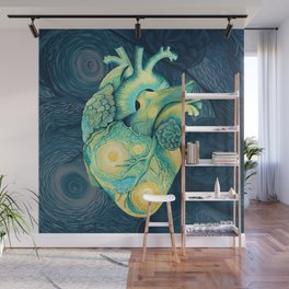 Anatomical Human Heart - Starry Night Inspired Wall Mural