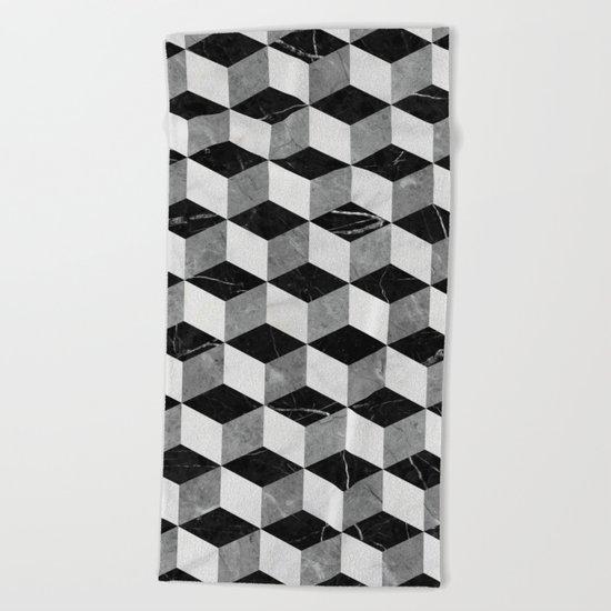 Marble Cubes  Beach Towel