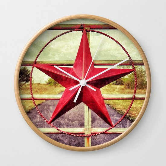 Texas star ranch gate wall clock by justinblackphoto