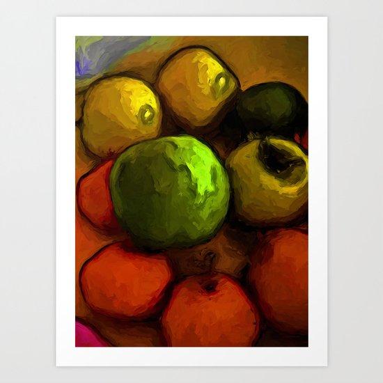 Green Apple with Gold Apples and Orange Mandarins Art Print