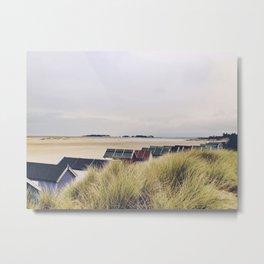 Dunes and beach huts. Metal Print