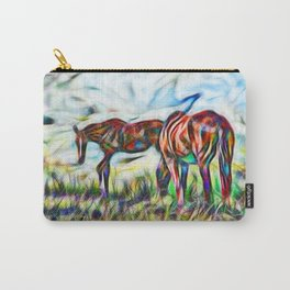 Abstract horses in paddock Carry-All Pouch