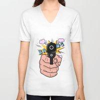 comics V-neck T-shirts featuring gun comics  by mark ashkenazi