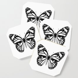 Monarch Butterfly | Vintage Butterfly | Black and White | Coaster