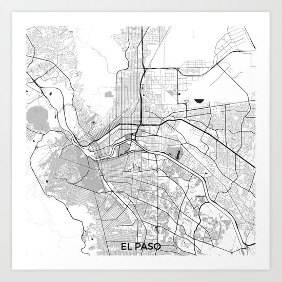El Paso Map Gray Art Print