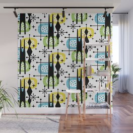 Retro Atomic Mid Century Pattern Yellow Green and Turquoise Wall Mural
