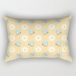 Cute Bees & Daises Pattern with Gingham Background Rectangular Pillow