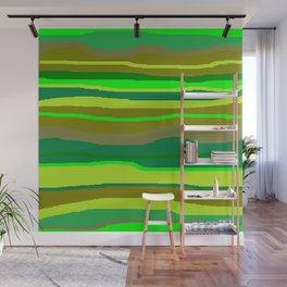 Green Multi Brush Strokes Wall Mural