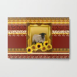 Frame Design yellow Sheep Metal Print