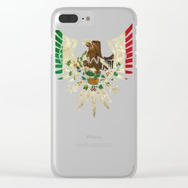 Eagle Mexican Design With Mexican Flag Design For Mexican Pride Outlined Clear iPhone Case