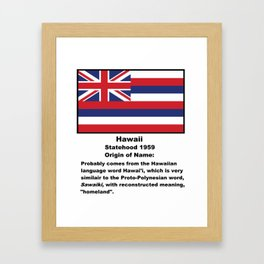 Hawaii Name Origin Words Below Flag Framed Art Print