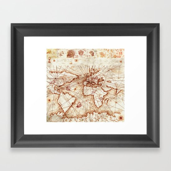 Vintage route map of the world - Leonardo Da Vinci by viktoriusart