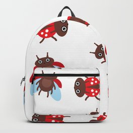 Funny insects ladybugs pattern on white background Backpack