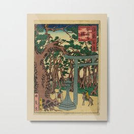 Isshusai Kunikazu - 100 Views of Naniwa: Sonnji Temple (1880s) Metal Print