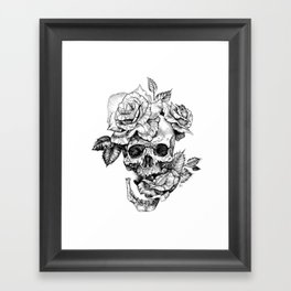 Black and White skull with roses pen drawing Framed Art Print