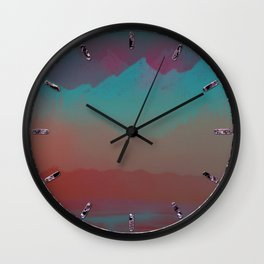 Ombre Mountainscape (Sunset Colors) Wall Clock