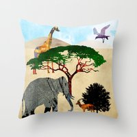 safari Throw Pillows featuring Safari by Design4u Studio