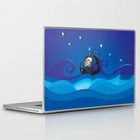 pirate ship Laptop & iPad Skins featuring pirate ship at the sea by mangulica