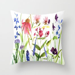 Botanical Colorful Flower Wildflower Watercolor Illustration Throw Pillow