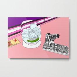 Zebra Phone in Tokyo Roppongi Metal Print