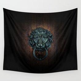 Vintage bronze lion door knocker Wall Tapestry