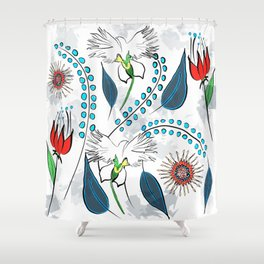 White Egret Orchid Shower Curtain