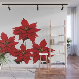 Red Poinsettia flower Wall Mural