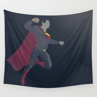 superman Wall Tapestries featuring Superman by Poly Iconik Art