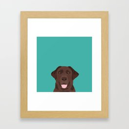 Chocolate Lab peeking dog head labrador retriever must have funny dog breed gifts Framed Art Print