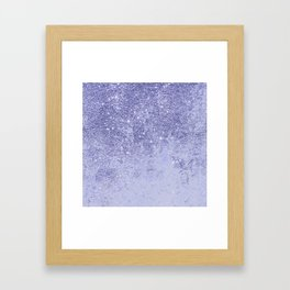 Elegant girly lavender faux glitter marble pattern Framed Art Print