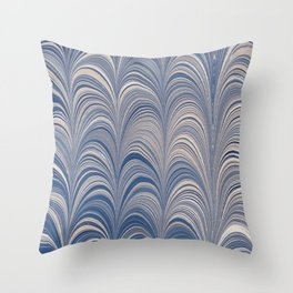 Marbled Blue and Gold Fountain Throw Pillow