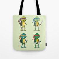 ninja turtles Tote Bags featuring Teenage Mutant Ninja Turtles by Glimy