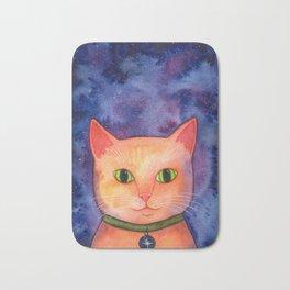 Ginger Cat in Space Bath Mat
