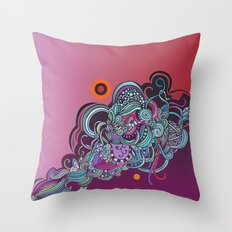 Detailed diagonal tangle, pink and purple Throw Pillow