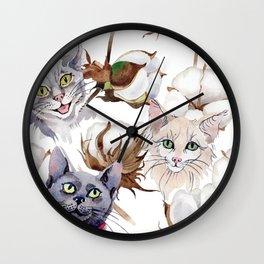 Cotton Flower & Cat Pattern 01 Wall Clock