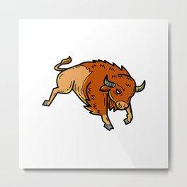 American Buffalo Jumping Mono Line Metal Print