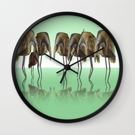 Bittern couple introducing new chick Wall Clock