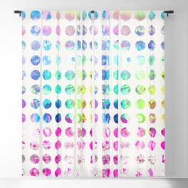 Girly pink teal blue watercolor polka dots pattern Blackout Curtain