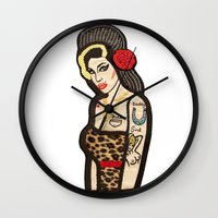 amy hamilton Wall Clocks featuring Amy by King Sophie's World