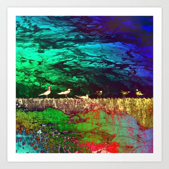 golden seagull Art Print