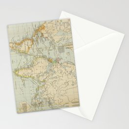 Vintage Map of The World (1911) 2 Stationery Cards