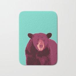 Bear poster, Brown bear, Happy bear wall art, GRIZZLY BEAR, animal bear, pop art poster Bath Mat