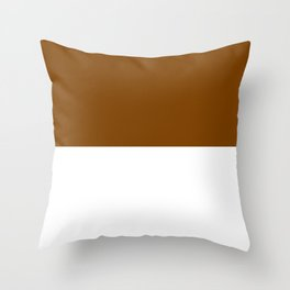 White and Chocolate Brown Horizontal Halves Throw Pillow