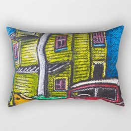 Old house and classic car in Wellington NZ - Oil pastels Rectangular Pillow