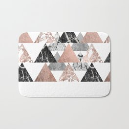 Marble Rose Gold Silver and Floral Geo Triangles Bath Mat