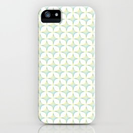Aqua, Green & Yellow Crossed Lines Pattern iPhone Case