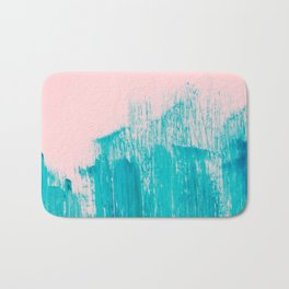 Bright Teal Painted Brushstrokes on Pastel Pink Bath Mat