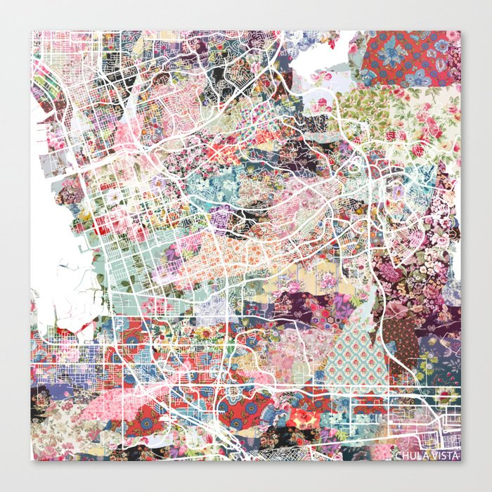 Chula Vista map Leinwanddruck
