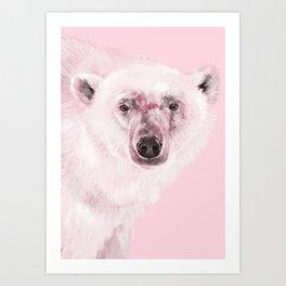 Polar Bear in Pink Art Print
